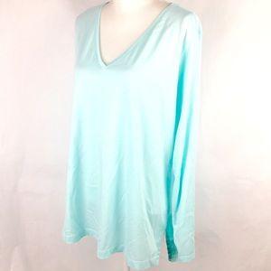 Lands End Shirt Top Plus Size 2X Aqua Long Sleeve